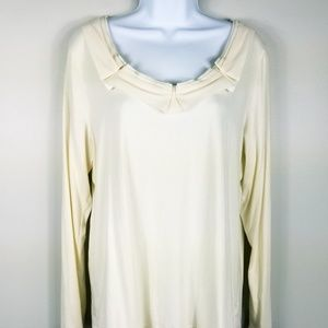 Talbots long sleeve cream stretch blouse top